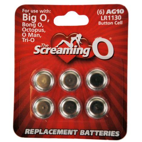 Screaming O Card of 6 x AG10 batteries (LR1130)