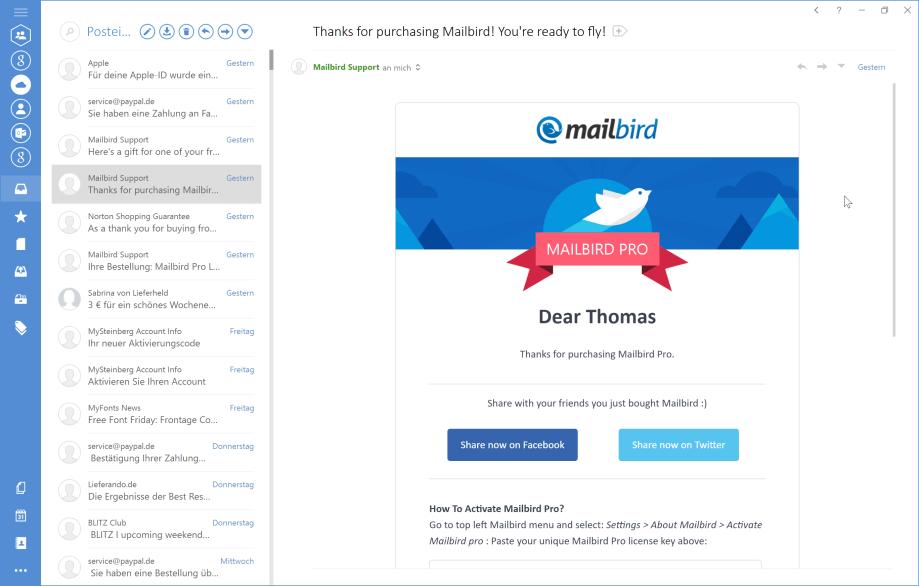 Mailbird macht mich zufrieden