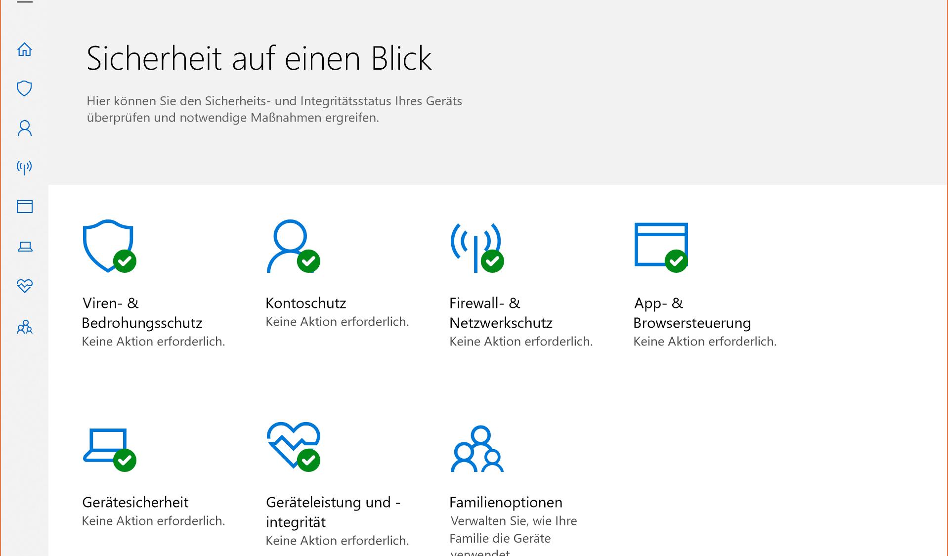 Screenshot Windows Defender Security Center
