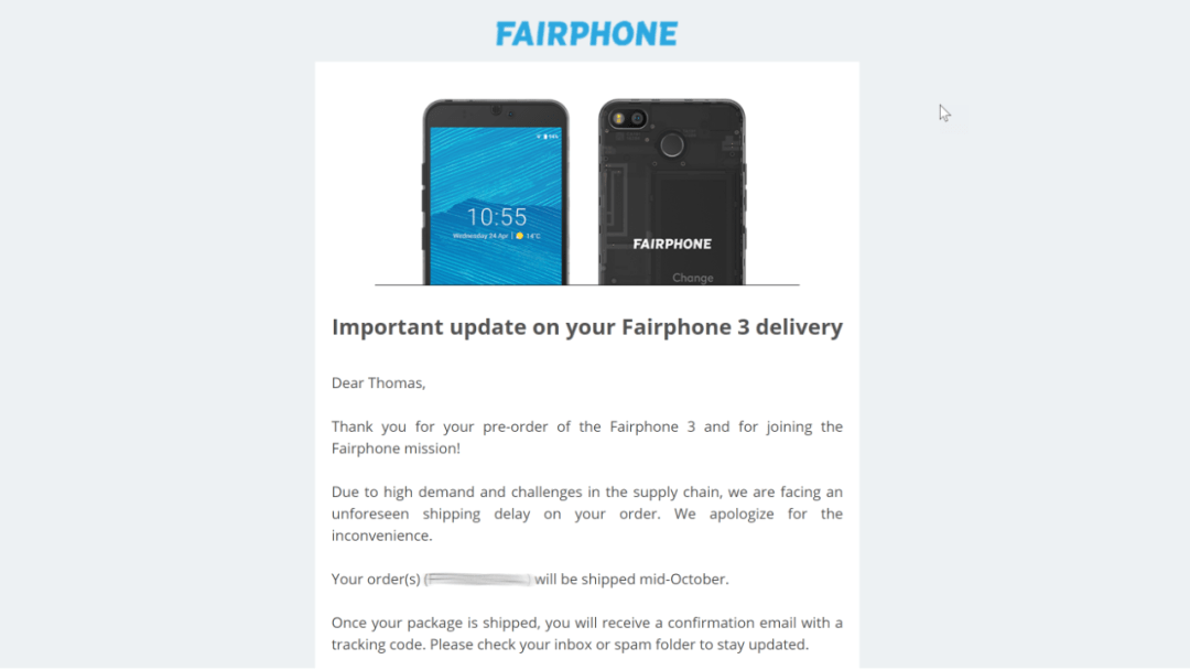 Fairphone-Mail, Screenshot