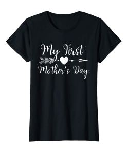 Womens Womens My First Mothers Day Pregnancy Announcement Mom Shirt