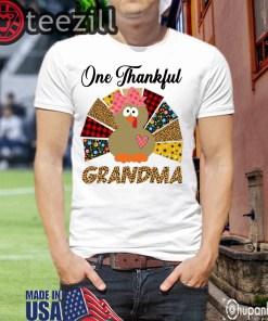 One Thankful Grandma Turkey Leopard Shirts