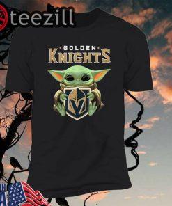 Baby Yoda Hug Golden Knights Shirt T-shirt