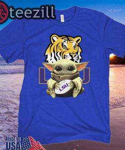Baby Yoda Hug LSU Tigers Shirt Ladies T-Shirt