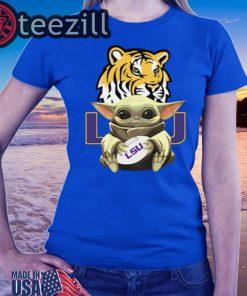 Baby Yoda Hug LSU Tigers Shirts Ladies T-Shirt