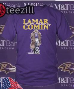 Lamar Comin T-Shirts Lamar Jackson Baltimore Ravens Official
