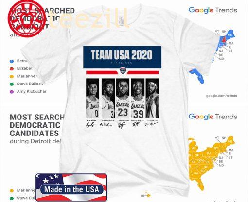 Team USA 2020 finalists Kyle Kuzma Anthony Davis LeBron James Dwight Howard JaVale McGee T-Shirt