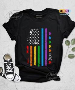 Gay Pride Shirt, Rainbow American Flag Shirt, LGBT Shirt, Lesbian Pride Shirt, LGBT Equality Shirt, Gay Lesbian LGBT Pride Outfit