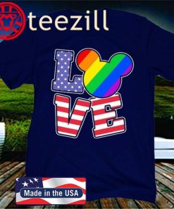 Love Lgbt Mickey Mouse American Flag Independence Day Gift T-Shirt