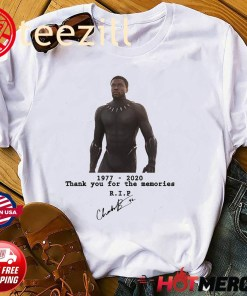 Rip Chadwick Boseman Black Panther 1977 - 2020 - 43 Thank You For The Memories Signature Shirt