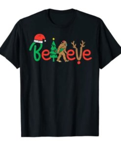 Believe Bigfoot Sasquatch In Mask Christmas Quarantine Gift Tee Shirt
