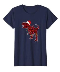 Red Plaid Dinosaur T Rex Christmas Lights Pajamas Adult Kids Gift Shirt