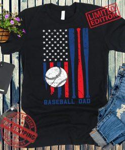 Baseball Dad American Flag T-Shirt USA Patriotic Fathers Day Gift