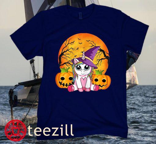 Cute Halloween Shirt Girls Women Witchy Unicorn Halloween Classic T-Shirts