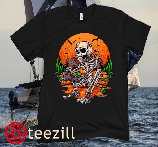 Halloween Kids Skeleton Gaming Gamer Unisex Shirts