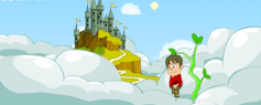 Jack climbed up the beanstalk and saw a beautiful castle in the clouds...