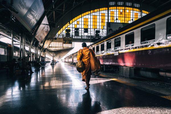 Monk at Bangkok railway station
