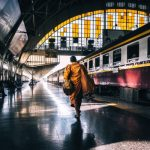Monk at Bangkok railway station