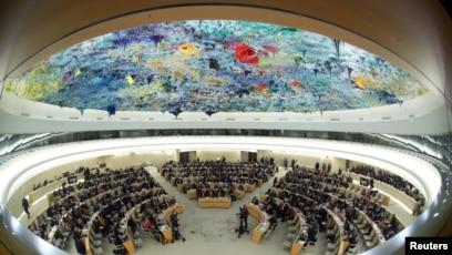 Pemandangan sidang Dewan HAM PBB di Jenewa, Swiss, 27 Februari 2020.