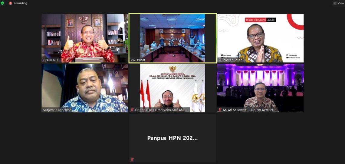 Audensi secara virtual Pengurus PWI Pusat dan Panitia Hari Pers Nasional 2021