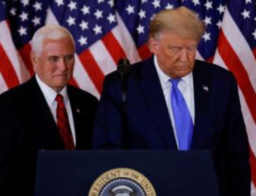 Presiden Donald Trump dan Wakil Presiden Mike Pence di Gedung Putih, Washington, 4 November 2020