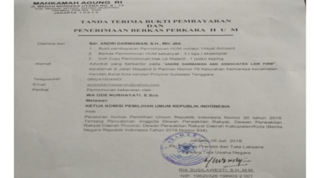 MA Kabulkan Uji Materi PerKPU Andre Darmawan And Asociate Law Firm