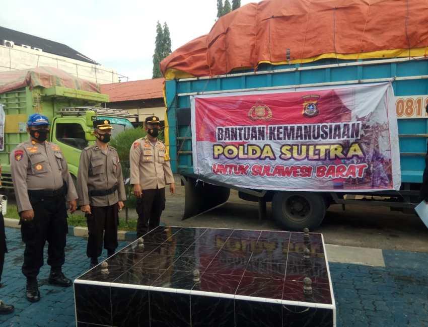 Kepolisian Daerah (Polda) Sulawesi Tenggara (Sultra), mengirim bantuan sosial untuk membantu penanganan bencana gempa bumi di Majene dan Mamuju Sulawesi Barat