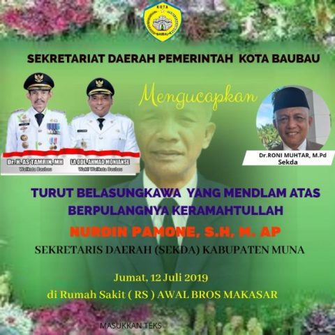 Iklan duka Baubau pak Sekda MUna