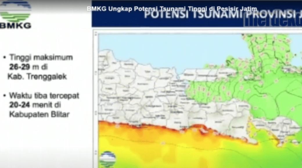 BMKG: Gempabumi Magnitudo 8,7 dan Tsunami 29 M di Pantai Selatan Jawa Timur adalah Potensi bukan Prediksi