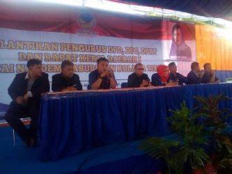 Rakerda I Partai Nasdem Kolaka timur yang dipimpin ketua DPD Andi merya Nur dan didampingi sekretaris Eritman Racmat. FOTO : NIKEN
