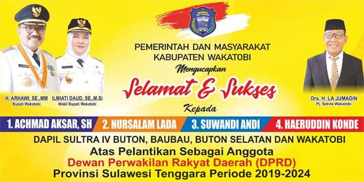 Iklan ucapan wakatobi pelantikan DPRD Sultra