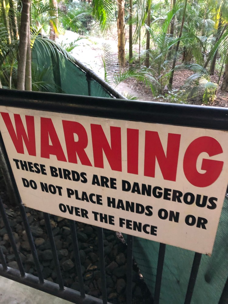Warning sign about cassowary