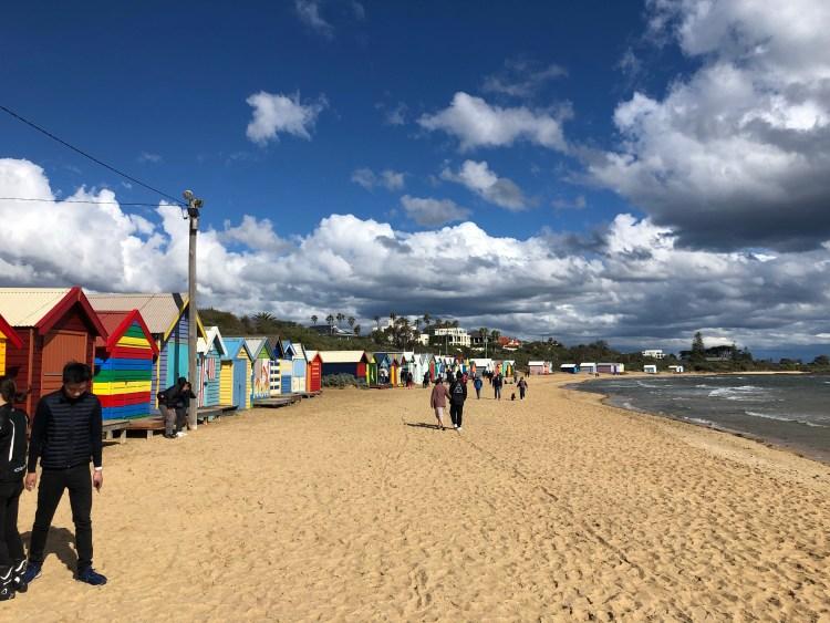 painted bath houses at beach