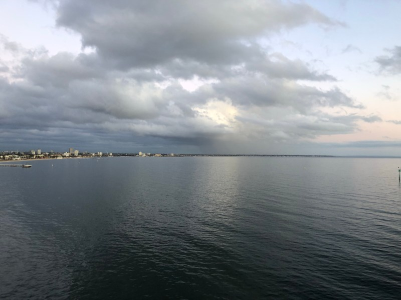 Ocean with dark clouds above