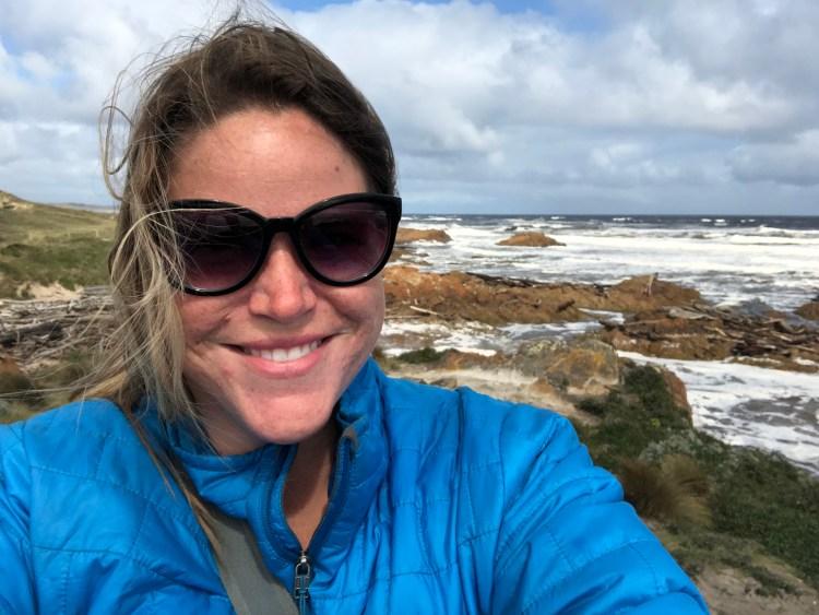 Woman at cold ocean