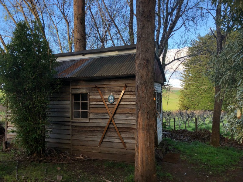 cabin in an apple orchard