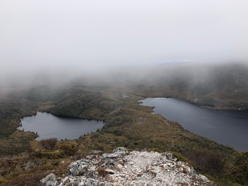 fog over two lakes