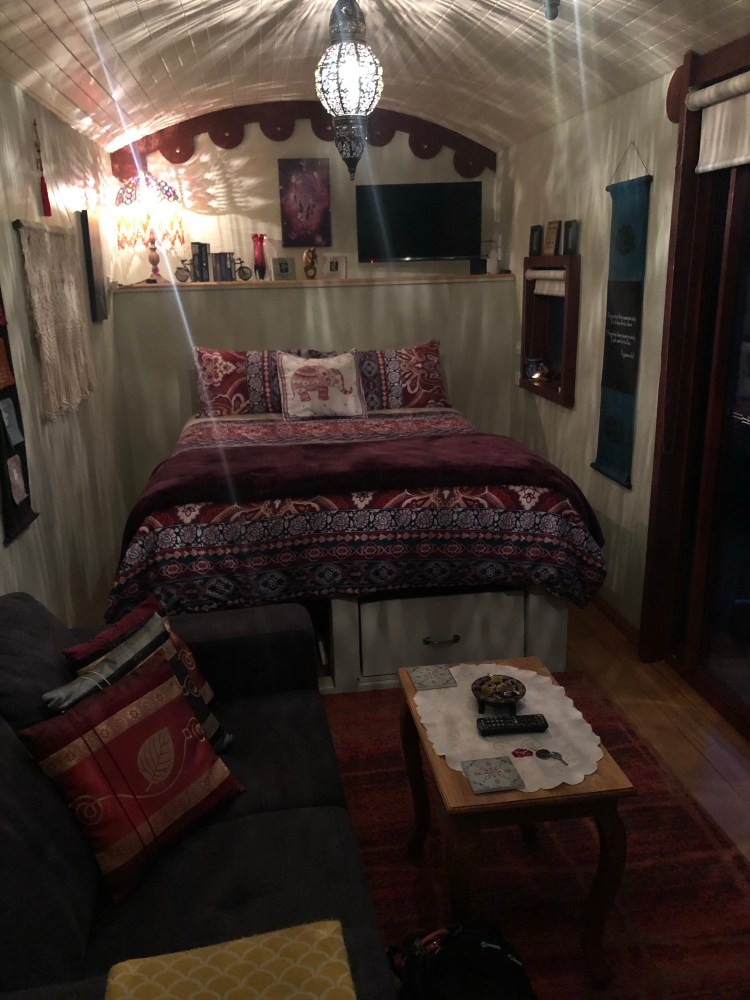 bed inside a converted truck