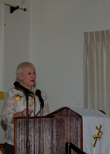 Phyllis reads a poem about church anniversaries