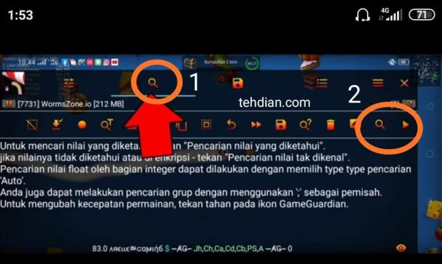 Klik pencarian game guardian