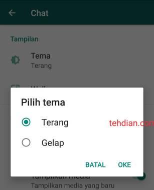 Memilih tema whatsapp