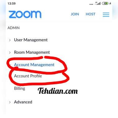 Account profile zoom menu