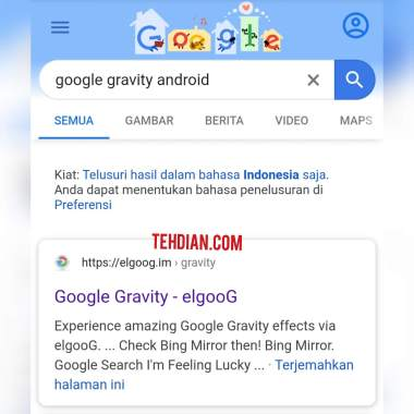 Google gravity hp android trick
