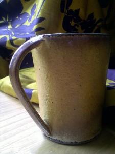 Leach Pottery Standard Ware mug and Turmeric/Grape Virginia Creeper silk dupion by Clarissa Hulse
