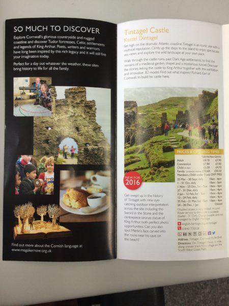 English Heritage leaflet of Cornish properties, 2016