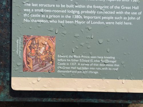 Illustration on outdoor interpretive slab showing Edward, the Black Prince being made Duke of Cornwall.