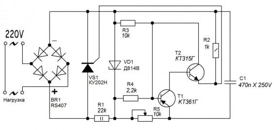 Imej konseptual prinsip operasi Simistor
