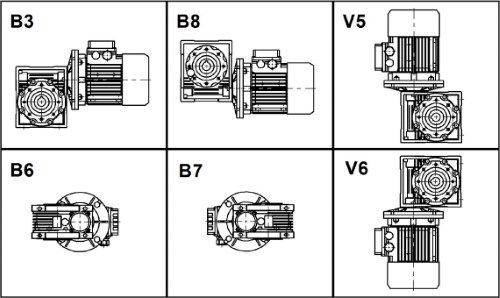 Схемы монтажа мотор редукторов NMRV
