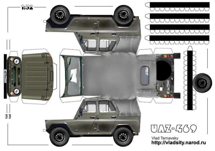 модель военного автомобиля УАЗ из бумаги