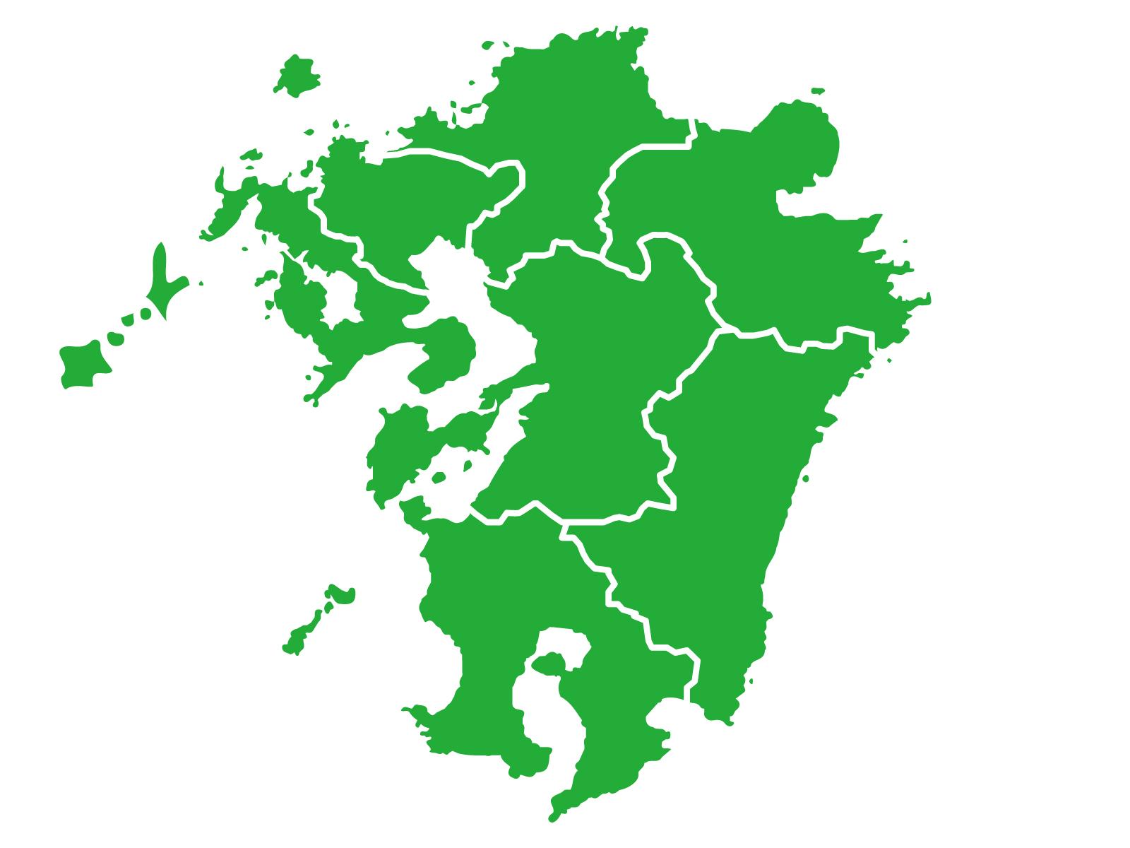 九州地方の地図のイメージ。